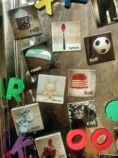 My toddler likes magnets, so I made these for her using images of stuff around the house, and had them printed by Social Print Studio.