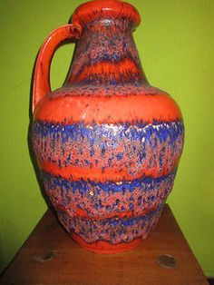 70-s-BAY-Keramik-pottery-vase-with-orange-blue-Fat-Lava-glaze-67-45-rare-color