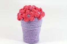 Purple Crocheted Flower Pot  Mother's Day Crochet Pot by etty2504, $28.00