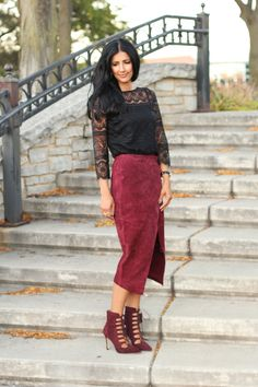 Suede wrap skirt by