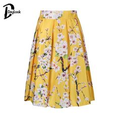 DayLook Summer Style Skirts Womens Elegant Sakura Floral Print High Waist Vintage Tutu Skater Pleated Skirt 5 Colors Saia