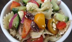 Greek Pasta Salad, when there are too many veggies in the fridge!