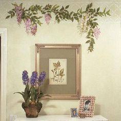 The multiple layers of the sweet and delicate Wisteria Ferns Floral and Vine Flower Stencilallows you to easily paint a realistic wall mural of romantic flower