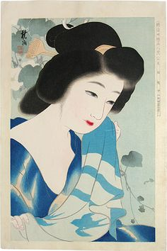 "Tattoo Ideas & Inspiration - Japanese Art | Nakayama Shuko, ""Collection of New Ukiyo-e Style Beauties: July, After a Bath"" 