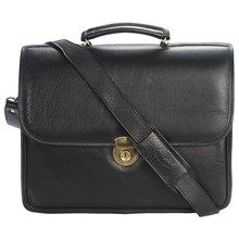 Aston Double Compartment Briefcase - Leather in Black - Closeouts