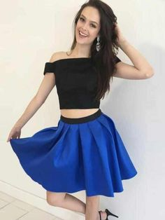 Two Piece Homecoming Dresses A line Simple Cheap Short Prom Dress Party Dress JK755