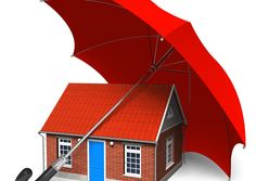 Home security concept. Red brick house covered by red umbrella isolated over whi , Local Movers, Best Movers, Best Insurance, Home Insurance, Moving And Storage, Packers And Movers, Home Warranty, Moving Services, Restoration Services
