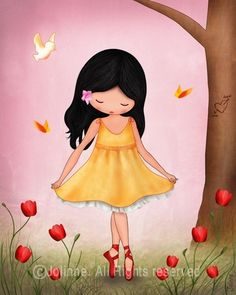 Art Print Girls room decor nursery wall art - Spring Jolinne (Bright pink background)