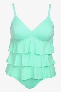 Mint Ruffled Tankini And Bikini Bottom 2-Piece  Plus Size Swim Set?
