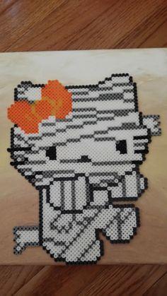 Hello Kitty Mummy canvas perler beads by Perleresque