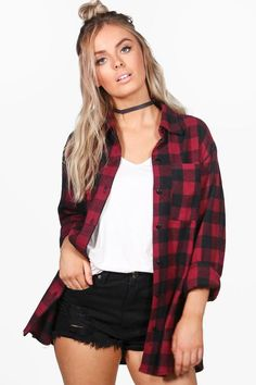 Violet Oversized Checked Shirt