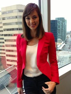 red blazer, white blouse, black pants