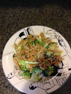 A twist on plain Rotini.  Ingredients: 8 oz. chicken breast sliced. 1/4 cup green onion 1/4 tsp soy sauce 1/2 cup sliced cabbage  1 cup broccoli  1/2 tsp grape seed oil 1 crushed garlic 1 bag of plain cooked rotini  Preheat pan with oil and sauté chicken and garlic till browned. Add soy sauce, broccoli and cook for an additional 2 minutes, add rotini and cabbage. Stir all ingredients together, sprinkle with green onions and enjoy!