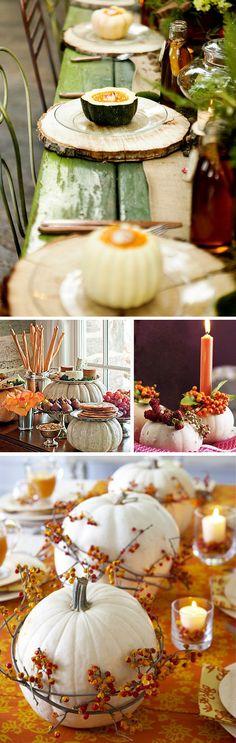 White Pumpkins for Fall Wedding Décor . Beach Table Decorations, Pumpkin Table Decorations, Wedding Table Decorations, Decoration Table, Pumpkin Decorating, Wedding Centerpieces, Reunion Centerpieces, Candle Decorations, Centrepieces