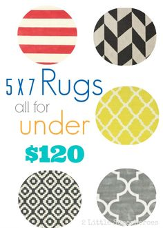 Great list of 5 x 7 rugs all for under $120! #rugs