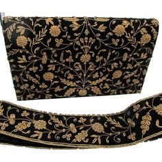 Vintage Zardozi Embroidered 2 Sided Velvet Clutch and Matching Belt from Chapel Hill Vintage Jewels on RubyLane.com