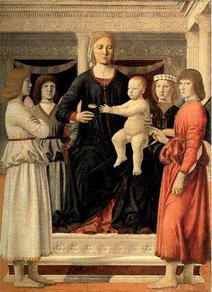 Piero della Francesca. La Virgen con el Niño en un trono, rodeados de ángeles. 1410/20-1492.