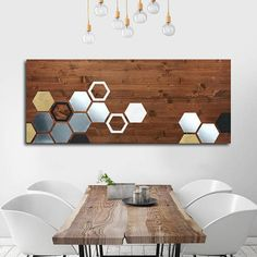 Metal Art Wall Decor Geometric Wood