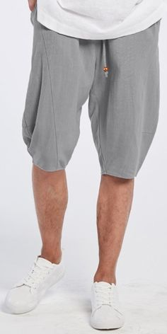 UP TO 47% OFF! Mens Summer Breathable Cotton Linen Solid Color Knee Length Drawstring Casual Shorts. SHOP NOW!