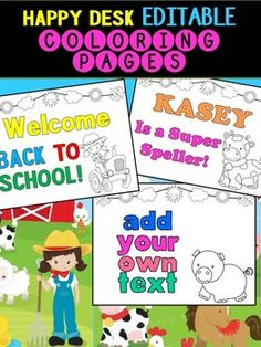 Farm Friends - Happy Desk Editable Coloring Pages: Farm Animals Farm Animal Crafts, Farm Animals, Back To School Crafts, Sand Crafts, Craft Gifts, Coloring Pages, Arts And Crafts, Desk, Happy