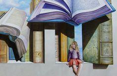 Keim Granital. Peinture murale trompe-l'oeil. Bibliothèque de Vougy.