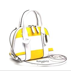 "Coach Bleecker Preston Striped Satchel #30172 Coach Bleecker Preston Striped Satchel #30172 ~ Silver/Sunglow/White Retail:$228.00 Striped coated canvas with graphic style & refined durability add style to this sophisticated little satchel. Richly trimmed in leather & finished with elegant rolled handles & slender strap for shoulder/crossbody wear. Inside zip pocket Zip-top closure & fabric lining Handles with 3 1/4"" drop Longer strap with 21"" drop for shoulder-crossbody wear 10 1/4"" L x 7…"