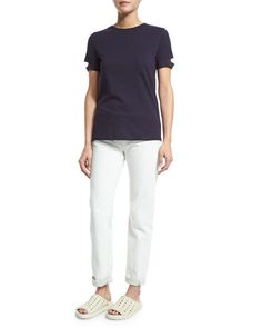 -6FKD Helmut Lang  Split-Sleeve Pocket Tee, Navy Cropped Cotton Ankle Jeans, White