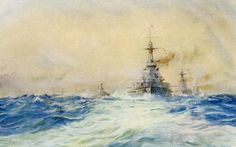British Battleships led by HMS Iron Duke Flagship of the Grand Fleet at Battle of Jutland 31st May 1916: picture by Lionel Wyllie. To buy this picture click here