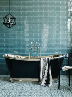 We chose the fantastically priced Metro Deco wall tiles for this shoot, alongside the equally good value cement Old Havana tiles for the… Metro Tiles Bathroom, Bathroom Floor Tiles, Modern Bathroom, Small Bathroom, Tile Floor, Tiled Bathrooms, Luxury Bathrooms, Black Bathrooms, Bad Inspiration