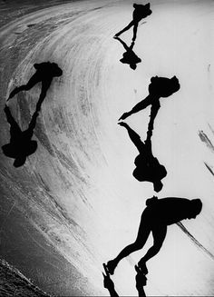 Speed skaters training at Davos, Switzerland, for the forthcoming Winter Olympics in Grenoble, 1967.  Keystone/Getty Images