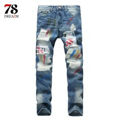 28.70$  Buy now - http://ali7he.shopchina.info/go.php?t=32767595059 - 2017 new fashion Brand New  Autumn Streetwear Ankle-Length Pants Mens Light Blue Jeans Brand Ripped Jeans For Men Balmai Jeans  #magazineonlinebeautiful