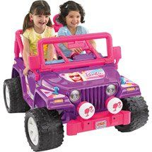 Power Wheels Barbie Jammin' Jeep. Music-filled fun and real driving adventure for girls on the go!. Realistic details inside and out,  There's a pretend radio with 6 jammin' tunes to give your ride a soundtrack, doors that really open and close and a rear storage area to carry all her gear. Drives two speeds forward (2.5 & 5 mph max.) and one speed reverse, on hard surfaces and grass. Equipped with high-speed lock out for beginners and Power Lock® brakes. Max. 130 lbs. (59 kg). This item is…