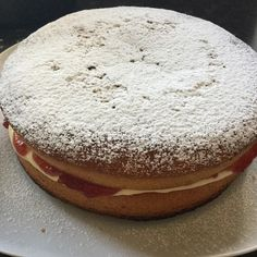 Nikkipedia: End result of my baking this afternoon. Quite impressed if I do say so myself. Looking forward to cutting into it a little later on #baking #cooking #cake #cakes #victoriasponge #strawberryjam #food #foodpics #foodstagram