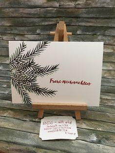 """keine Angst bald gibt es auch mal wieder Osterkarten  Jepp noch """"müssen"""" wir mit Weihnachtskarten auskommen. Ich habe mit Erschrecken festgestellt dass ich noch einige brauche. Also habe ich mich rangemacht und ganz einfache Karten gebastelt einfach nur auf den Karton gestempelt:   Und ganz oft sind die ganz schichten mit die schönsten :-) Hier die schlichte Materialliste  Weihnachten"""