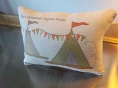 Woodland pillow adventure nursery canvas by SweetMeadowDesigns