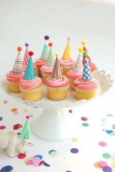 12 mini party hat cupcake toppers - brights by chiarabelle on Etsy https://www.etsy.com/listing/178511082/12-mini-party-hat-cupcake-toppers
