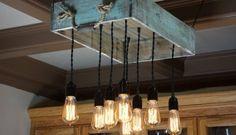 Lámparas de exterior para este verano hechas con palets – I Love Palets Dining Room Lighting, Kitchen Lighting, Rustic Kitchen Island, Farmhouse Lighting, Mason Jar Lamp, Farmhouse Table, Light Fixtures, Table Lamp, Ceiling Lights