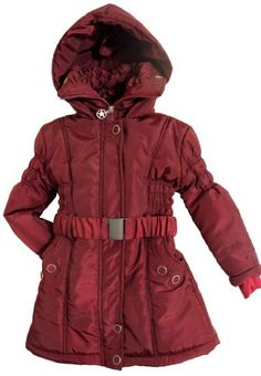 Girls Winter Hooded Jacket With Elastic Belt - Burgundy Rust (Size 12)  $70