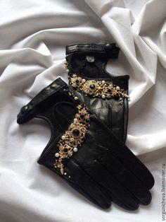 """Купить Авто-перчатки""""Вlack Baroque""""в стиле DG - черный, перчатки без пальцев, перчатки женские"""