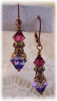 New Swarovski Tanzanite/Amethyst Crystal Antique Gold Vintage Filigree Dangle Earrings