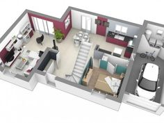 plan de maison 3 chambres etage