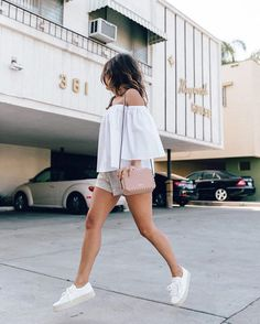 Pin for Later: The Easiest Way to Fake Longer Legs An Off-the-Shoulder Top, Shorts, and Sneakers