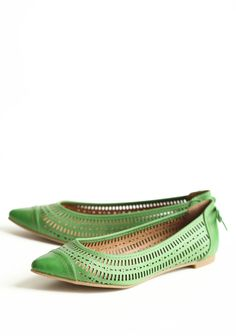 Possible shoe inspiration for your green dressed bridesmaids. (Not the neon spike-heels).