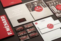 Logo, un folleto y papelería para el productor de cerdo canadiense y familiar carnicero F. Ménard diseñados por lg2boutique