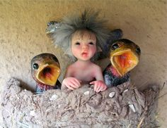 By artist Daniela Messina, Swallow Nest Fairy, miniature sculpted in polymer clay without the use of mold