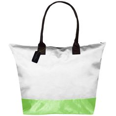 Peach Couture Kylie Two-tone White/ Green Plage a Main Waterproof Tote (27 CAD) ❤ liked on Polyvore featuring bags, handbags, tote bags, white, zip tote bag, zip tote, green purse, white purse and green tote