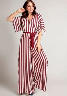 Uutuudet - Nopea toimitus! - Miss Windy Shop Striped Jumpsuit, Playsuits, Pin Up, Burgundy, Size 10, Legs, Fabric, Sleeves, How To Wear
