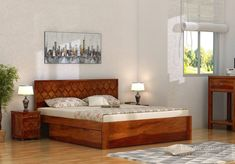Buy Montana Bed With Storage (King Size, Honey Finish) Online in India - Wooden Street Bedroom Bed Design, Bedroom Furniture Design, Bed Furniture, Cot Bedding, Bedding Sets, Wooden Street, Wood Beds, Queen Size Bedding, Bed Storage