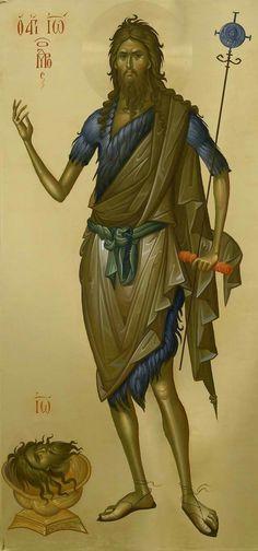St John the Baptist icon, by Fr Ilie Bobaianu. Byzantine Icons, Byzantine Art, Religious Icons, Religious Art, Greek Icons, Paint Icon, Jean Baptiste, John The Baptist, Orthodox Icons