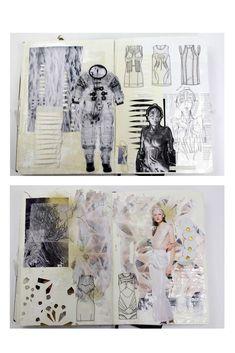 Fashion Sketchbook - fashion design development with visual research, sketches, fabric manipulation & surface structure experimentation; fashion portfolio // Natasha Elliott